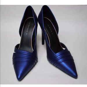 Zara Trafaluc Blue Satin Sheen High Heels Size 10
